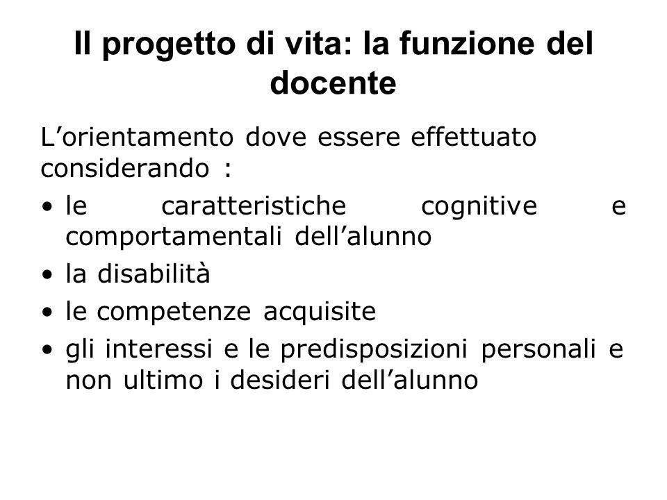 Il progetto di vita: la funzione del docente L'orientamento dove essere effettuato considerando : le caratteristiche cognitive e comportamentali dell'