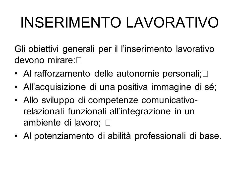 INSERIMENTO LAVORATIVO Gli obiettivi generali per il l'inserimento lavorativo devono mirare: Al rafforzamento delle autonomie personali; All'acquisizi