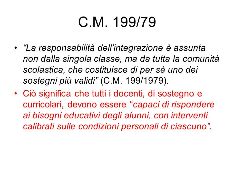 """C.M. 199/79 """"La responsabilità dell'integrazione è assunta non dalla singola classe, ma da tutta la comunità scolastica, che costituisce di per sè uno"""