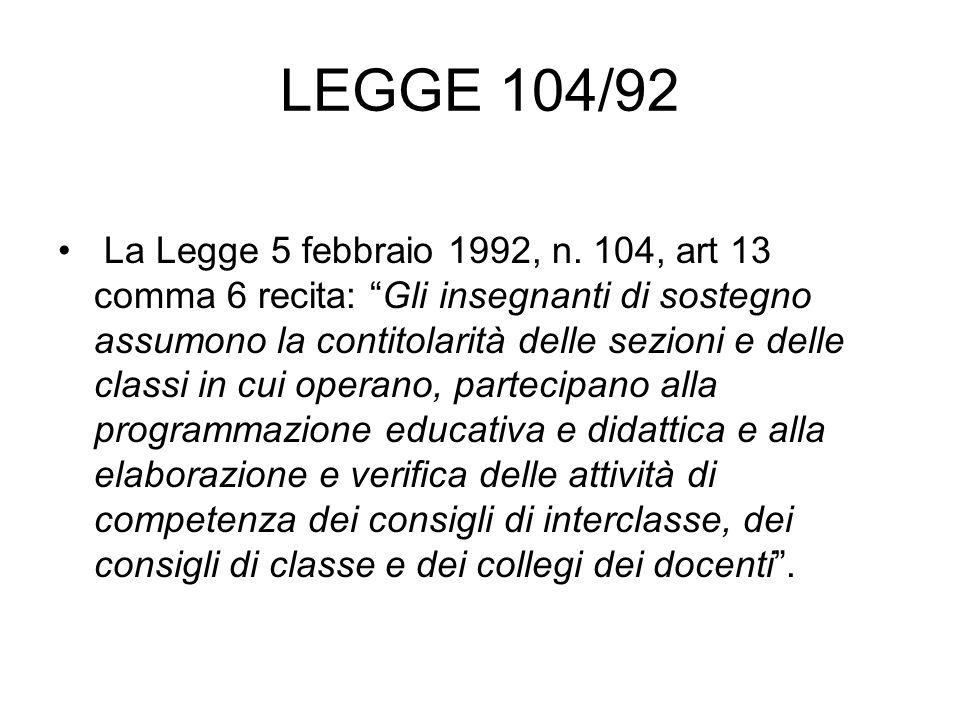 """LEGGE 104/92 La Legge 5 febbraio 1992, n. 104, art 13 comma 6 recita: """"Gli insegnanti di sostegno assumono la contitolarità delle sezioni e delle clas"""