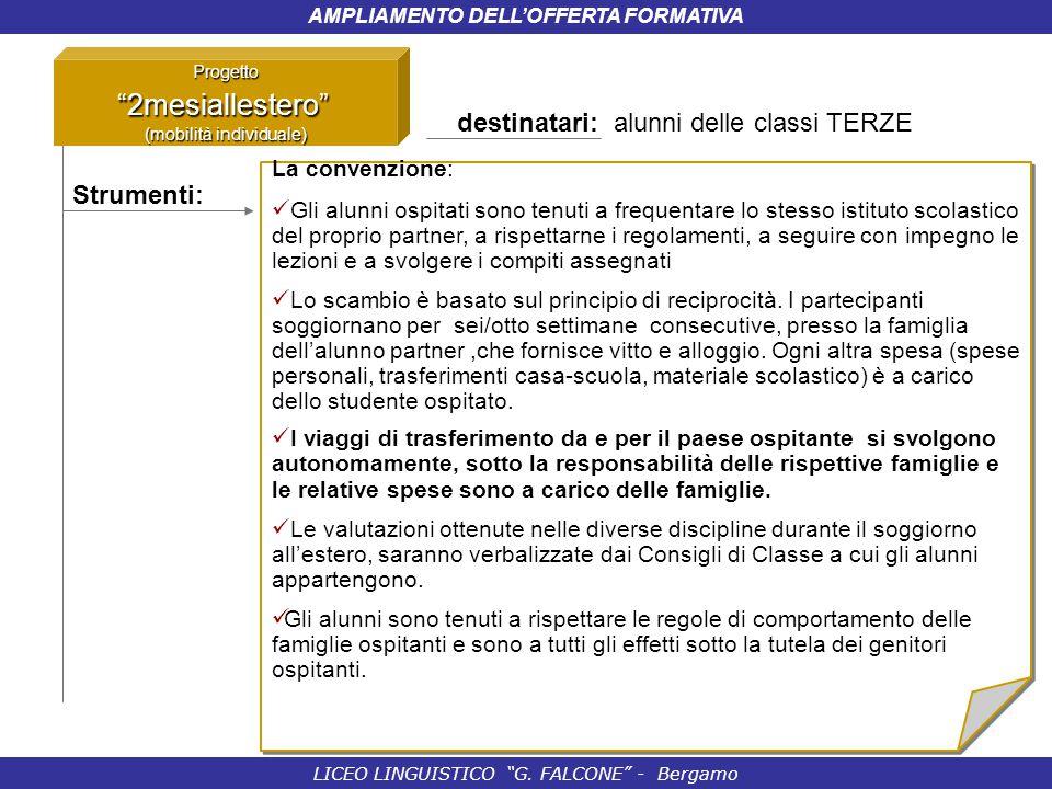 """LICEO LINGUISTICO """"G. FALCONE"""" - Bergamo AMPLIAMENTO DELL'OFFERTA FORMATIVA Progetto""""2mesiallestero"""" (mobilità individuale) Strumenti: La convenzione:"""