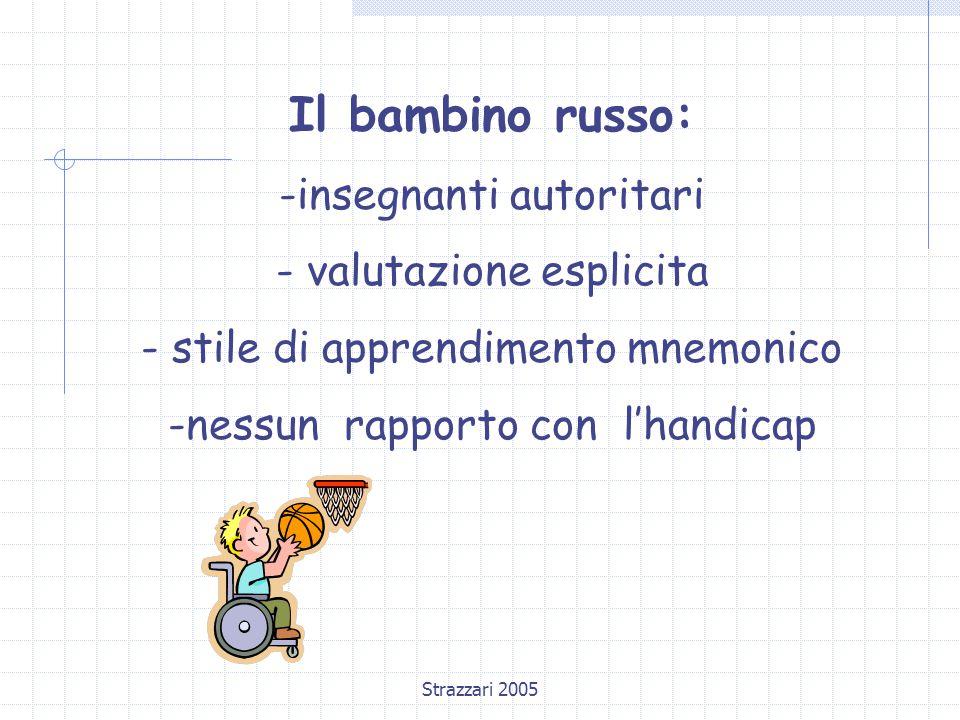 Strazzari 2005 Il bambino russo: -insegnanti autoritari - valutazione esplicita - stile di apprendimento mnemonico -nessun rapporto con l'handicap