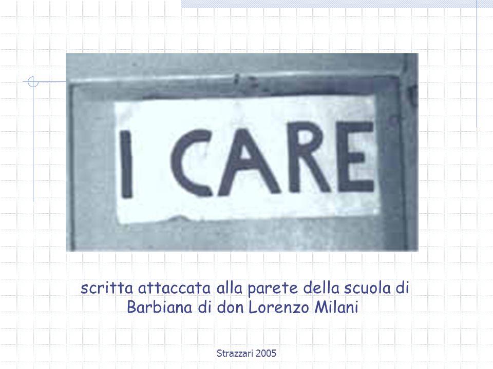 Strazzari 2005 scritta attaccata alla parete della scuola di Barbiana di don Lorenzo Milani