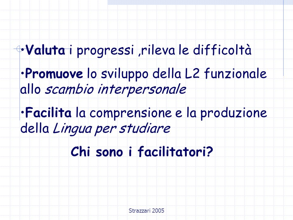 Strazzari 2005 Valuta i progressi,rileva le difficoltà Promuove lo sviluppo della L2 funzionale allo scambio interpersonale Facilita la comprensione e la produzione della Lingua per studiare Chi sono i facilitatori