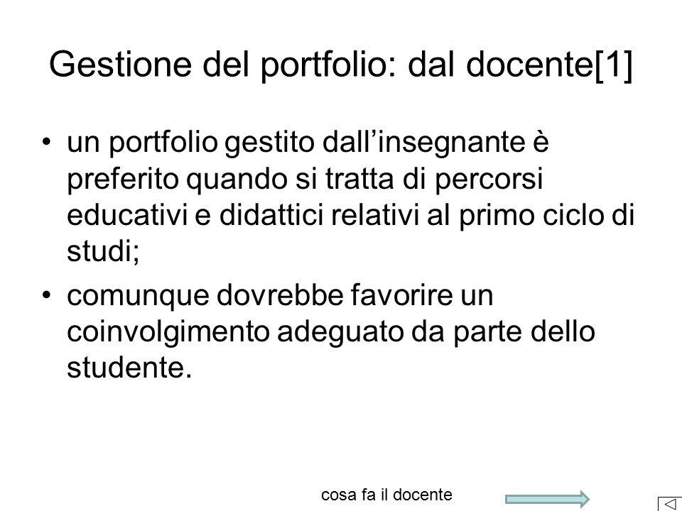 un portfolio gestito dall'insegnante è preferito quando si tratta di percorsi educativi e didattici relativi al primo ciclo di studi; comunque dovrebb