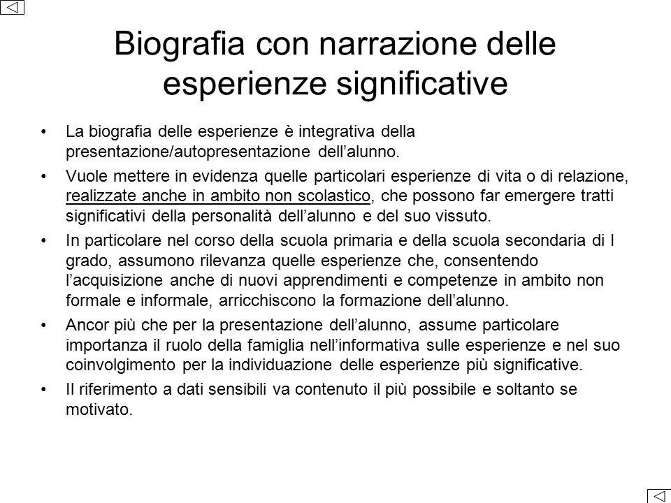 Biografia con narrazione delle esperienze significative La biografia delle esperienze è integrativa della presentazione/autopresentazione dell'alunno.