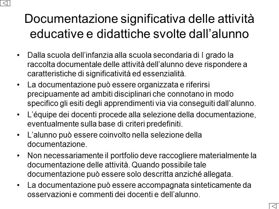Documentazione significativa delle attività educative e didattiche svolte dall'alunno Dalla scuola dell'infanzia alla scuola secondaria di I grado la