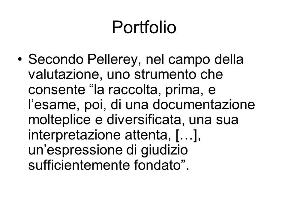 """Portfolio Secondo Pellerey, nel campo della valutazione, uno strumento che consente """"la raccolta, prima, e l'esame, poi, di una documentazione moltepl"""