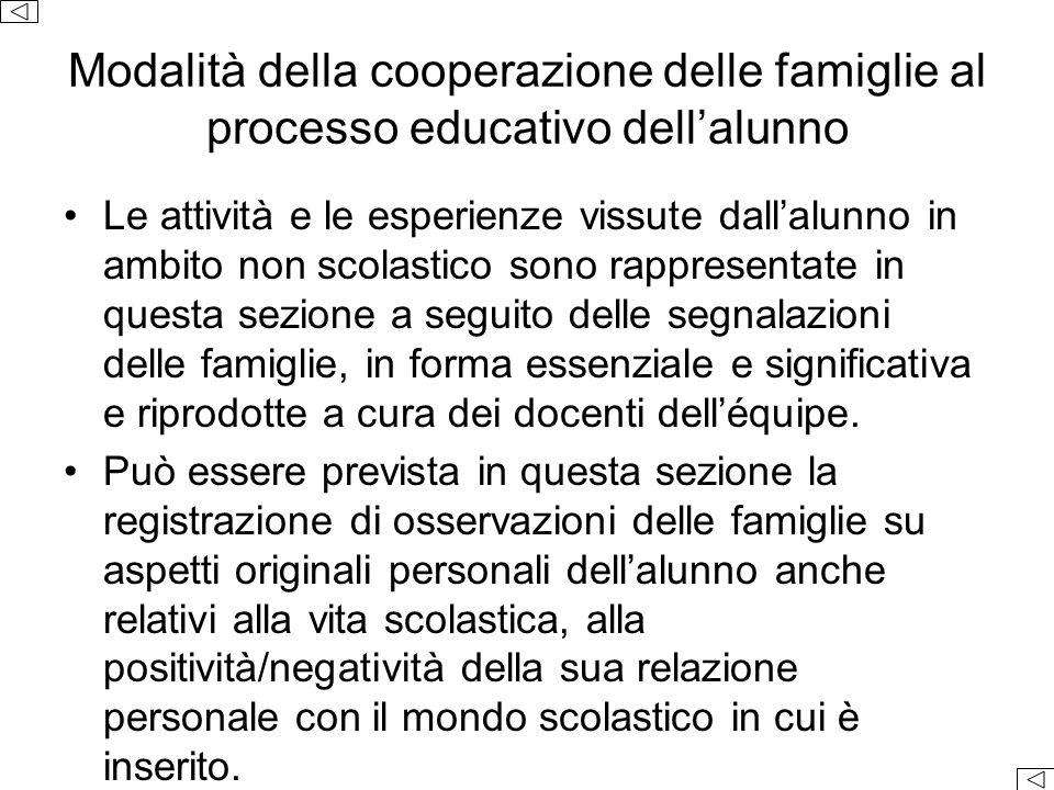 Modalità della cooperazione delle famiglie al processo educativo dell'alunno Le attività e le esperienze vissute dall'alunno in ambito non scolastico