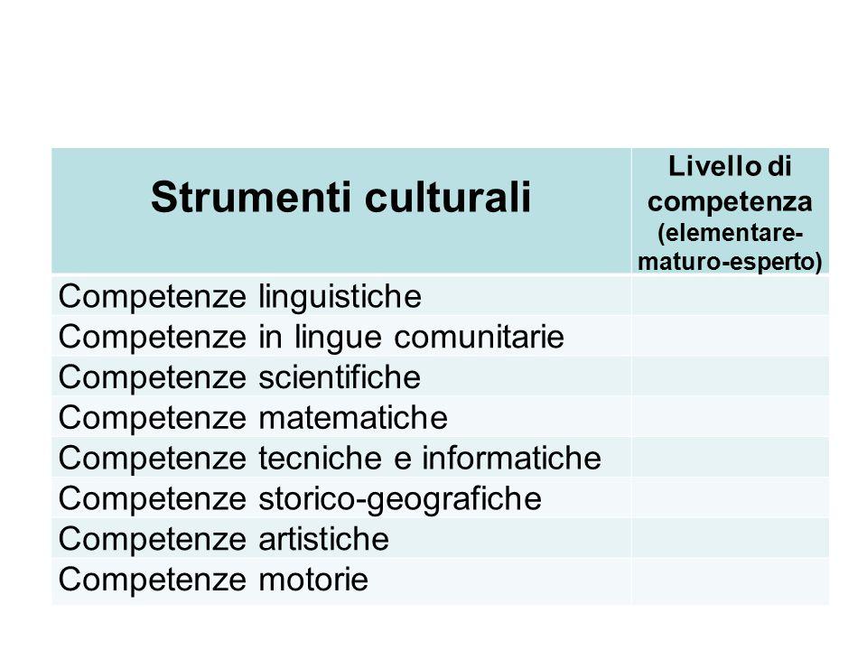 Strumenti culturali Livello di competenza (elementare- maturo-esperto) Competenze linguistiche Competenze in lingue comunitarie Competenze scientifich