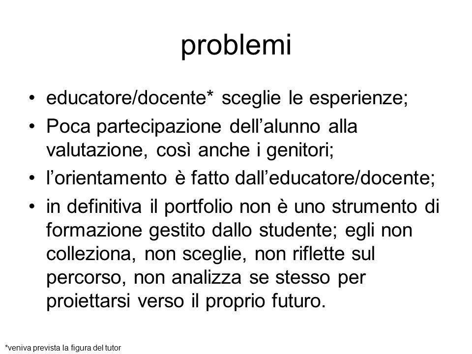 problemi educatore/docente* sceglie le esperienze; Poca partecipazione dell'alunno alla valutazione, così anche i genitori; l'orientamento è fatto dal