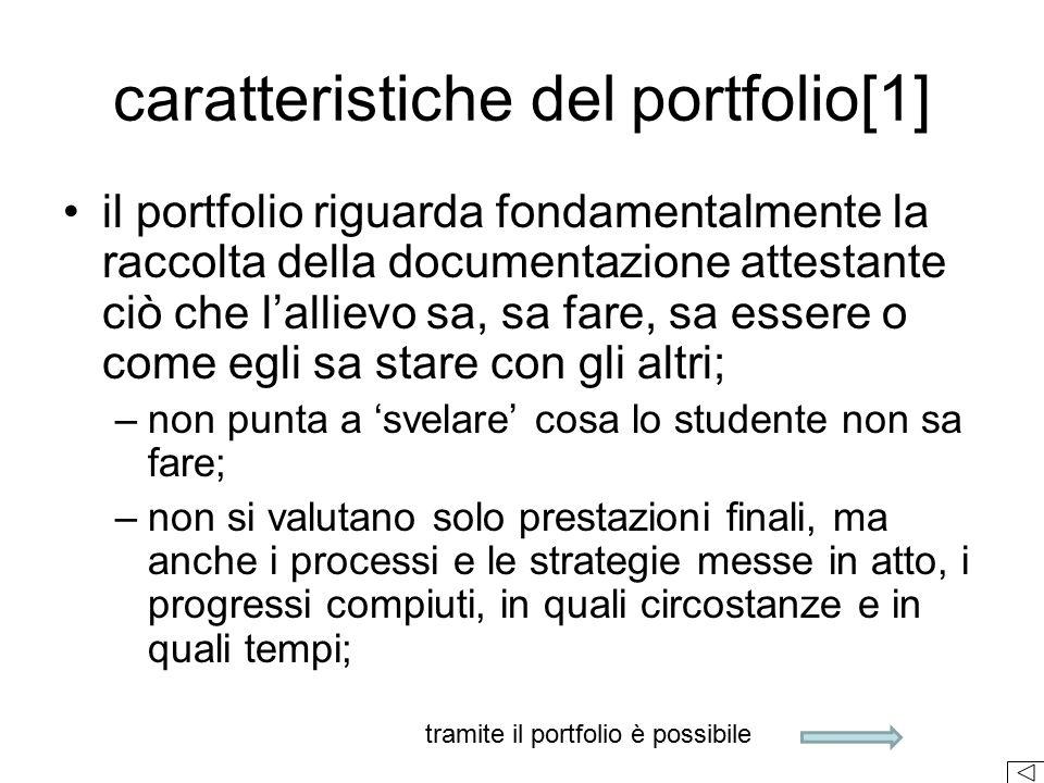 caratteristiche del portfolio[1] il portfolio riguarda fondamentalmente la raccolta della documentazione attestante ciò che l'allievo sa, sa fare, sa