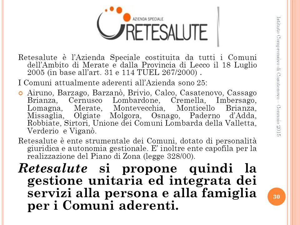 Istituto Comprensivo di Casatenovo – Gennaio 2015 30 Retesalute è l'Azienda Speciale costituita da tutti i Comuni dell'Ambito di Merate e dalla Provin