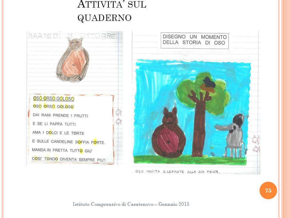 A TTIVITA ' SUL QUADERNO Istituto Comprensivo di Casatenovo – Gennaio 2015 75