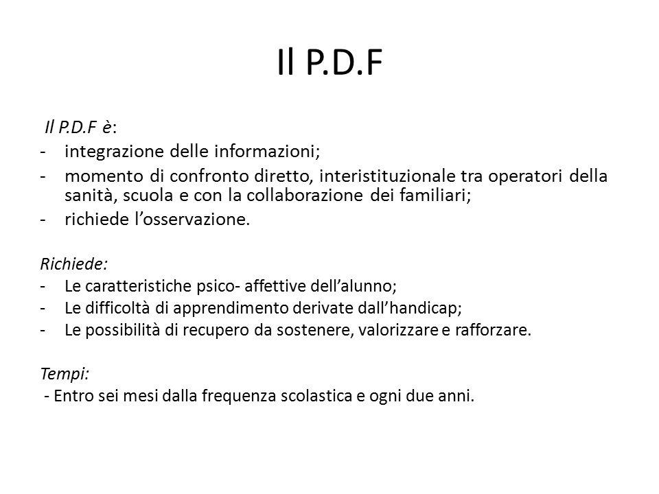 Il P.D.F Il P.D.F è: - integrazione delle informazioni; -momento di confronto diretto, interistituzionale tra operatori della sanità, scuola e con la collaborazione dei familiari; -richiede l'osservazione.