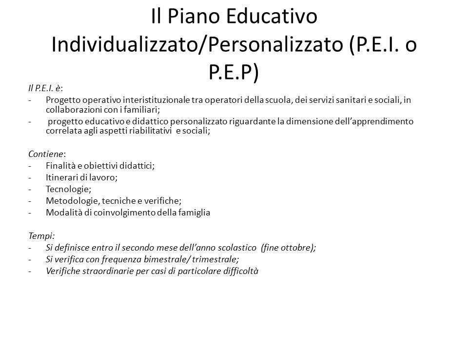 Il Piano Educativo Individualizzato/Personalizzato (P.E.I.
