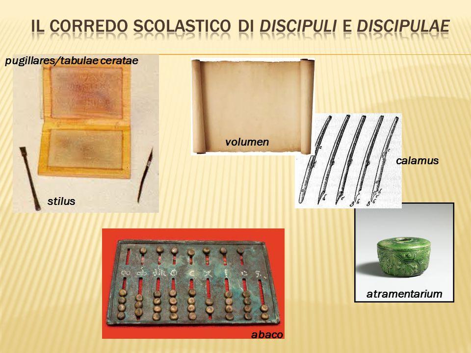 pugillares/tabulae ceratae stilus volumen calamus atramentarium abaco