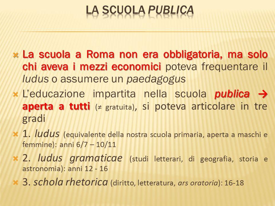  La scuola a Roma non era obbligatoria, ma solo chi aveva i mezzi economici  La scuola a Roma non era obbligatoria, ma solo chi aveva i mezzi econom