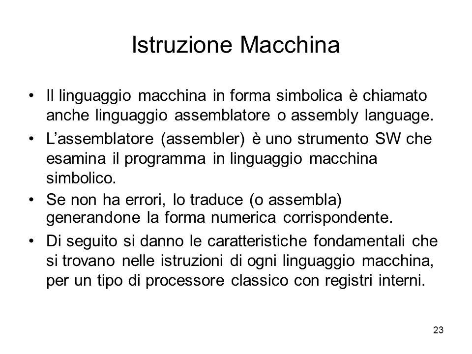 23 Istruzione Macchina Il linguaggio macchina in forma simbolica è chiamato anche linguaggio assemblatore o assembly language.