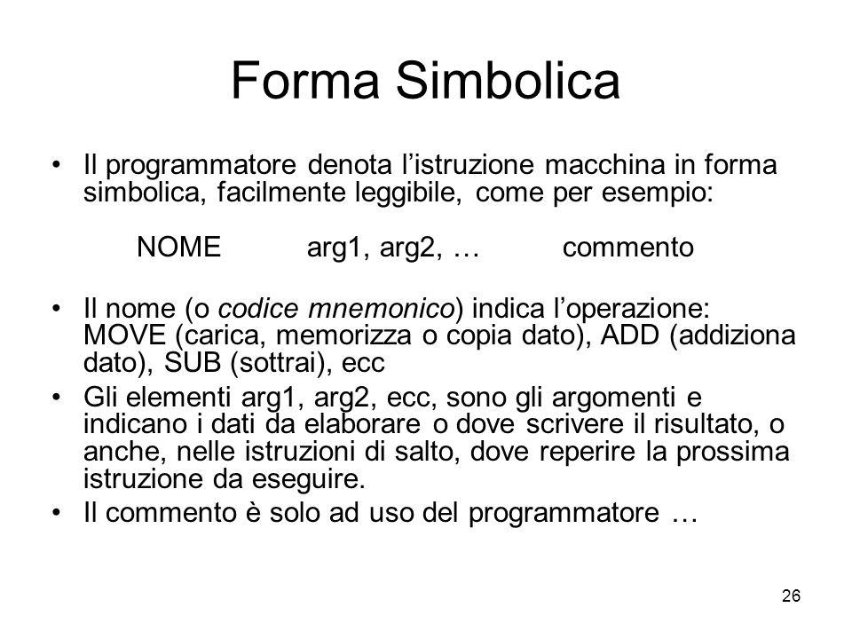 26 Forma Simbolica Il programmatore denota l'istruzione macchina in forma simbolica, facilmente leggibile, come per esempio: NOMEarg1, arg2, …commento Il nome (o codice mnemonico) indica l'operazione: MOVE (carica, memorizza o copia dato), ADD (addiziona dato), SUB (sottrai), ecc Gli elementi arg1, arg2, ecc, sono gli argomenti e indicano i dati da elaborare o dove scrivere il risultato, o anche, nelle istruzioni di salto, dove reperire la prossima istruzione da eseguire.