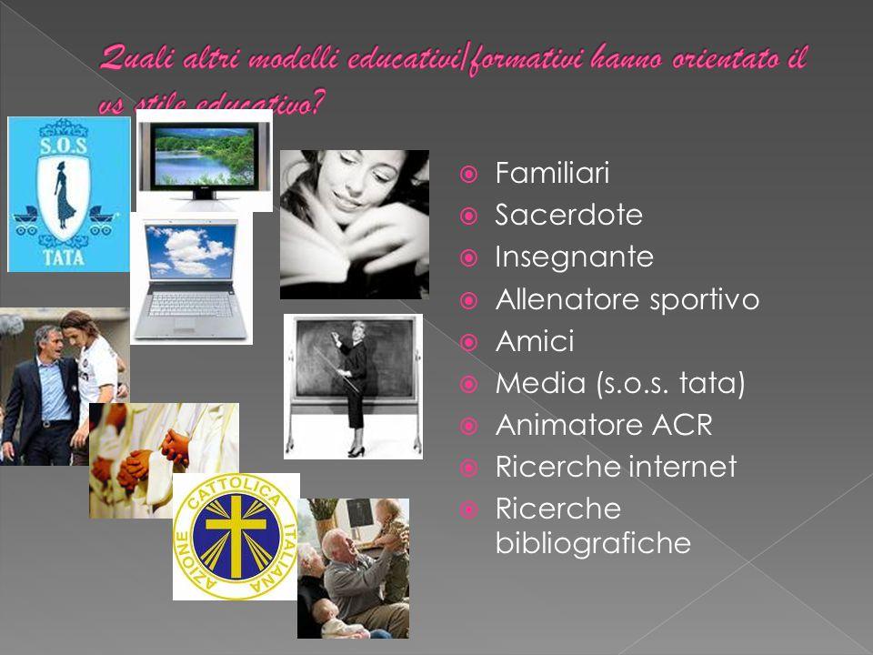  Familiari  Sacerdote  Insegnante  Allenatore sportivo  Amici  Media (s.o.s.