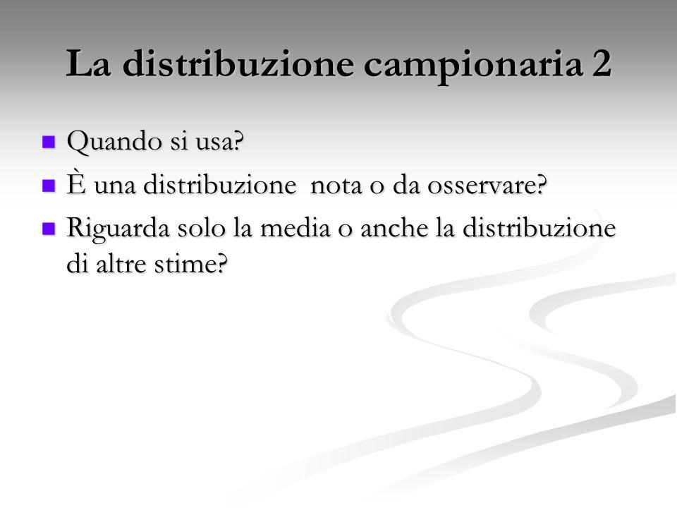 Quando si usa? Quando si usa? È una distribuzione nota o da osservare? È una distribuzione nota o da osservare? Riguarda solo la media o anche la dist