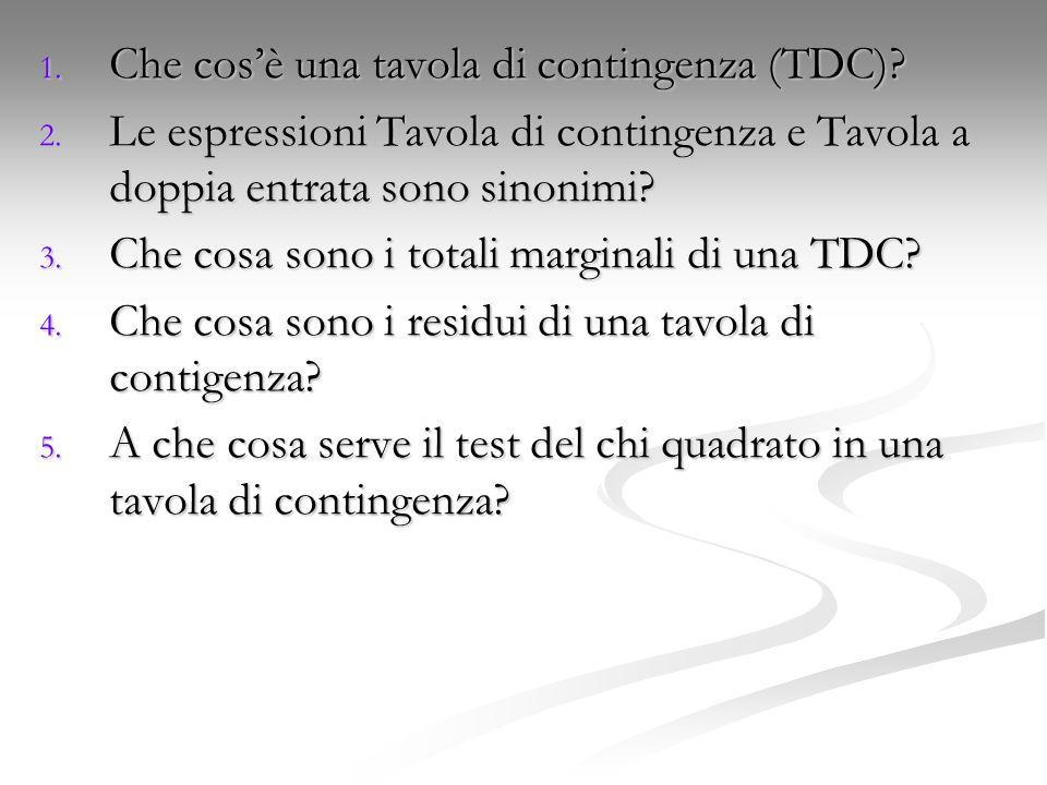 1. Che cos'è una tavola di contingenza (TDC)? 2. Le espressioni Tavola di contingenza e Tavola a doppia entrata sono sinonimi? 3. Che cosa sono i tota