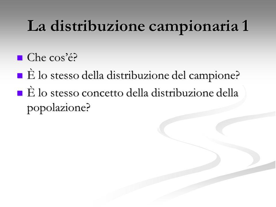 La distribuzione campionaria 1 Che cos'é? Che cos'é? È lo stesso della distribuzione del campione? È lo stesso della distribuzione del campione? È lo