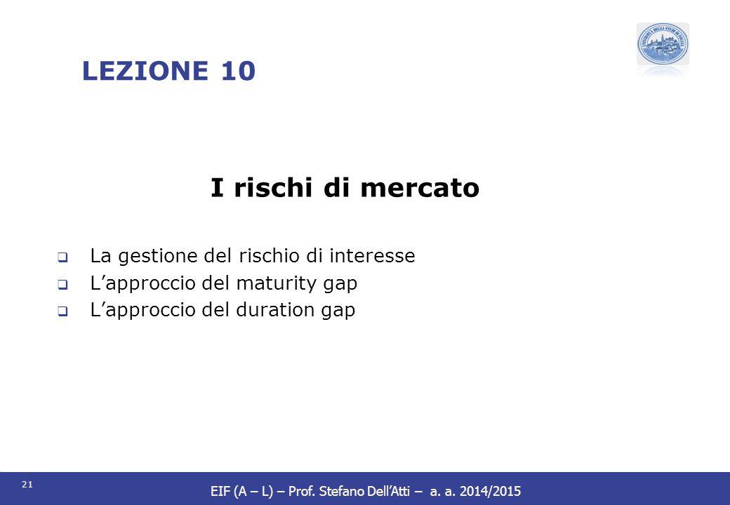 21 EIF (A – L) – Prof. Stefano Dell'Atti – a. a. 2014/2015 LEZIONE 10 I rischi di mercato  La gestione del rischio di interesse  L'approccio del mat