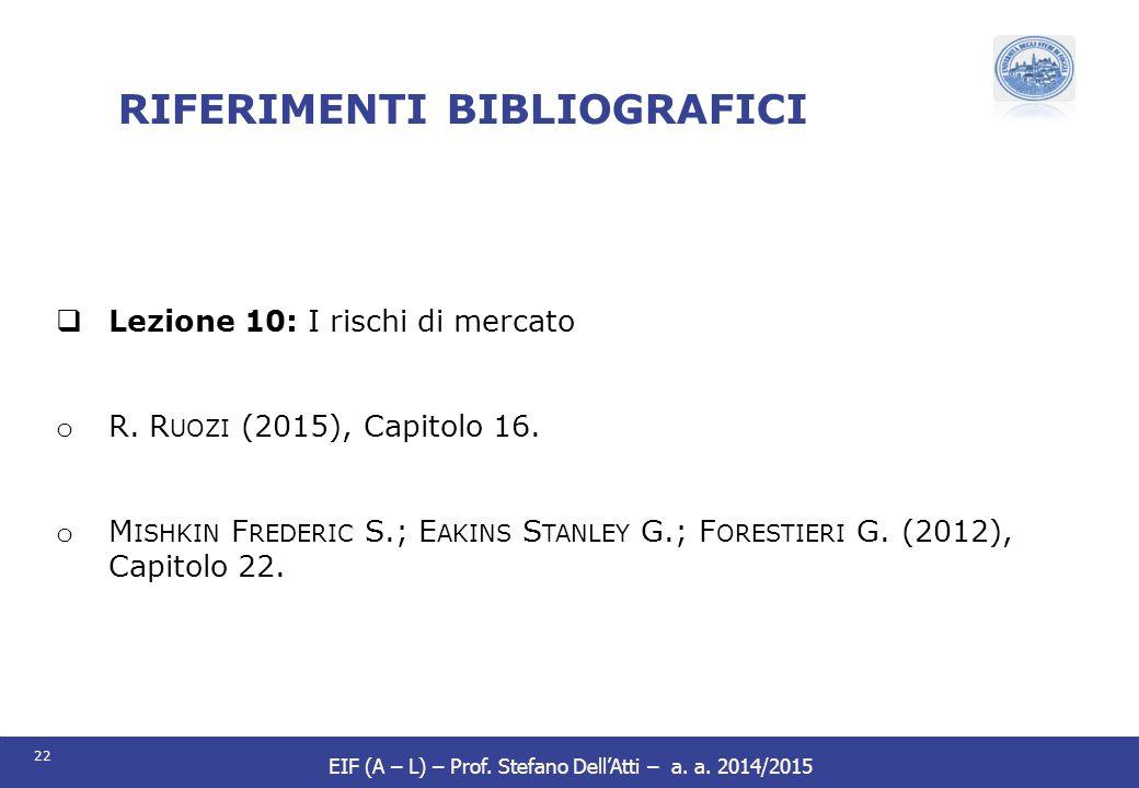 22 EIF (A – L) – Prof. Stefano Dell'Atti – a. a. 2014/2015 RIFERIMENTI BIBLIOGRAFICI  Lezione 10: I rischi di mercato o R. R UOZI (2015), Capitolo 16