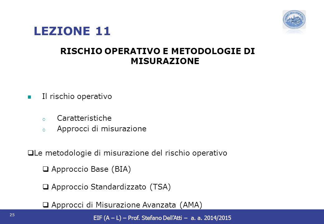 25 EIF (A – L) – Prof. Stefano Dell'Atti – a. a. 2014/2015 LEZIONE 11 RISCHIO OPERATIVO E METODOLOGIE DI MISURAZIONE Il rischio operativo o Caratteris