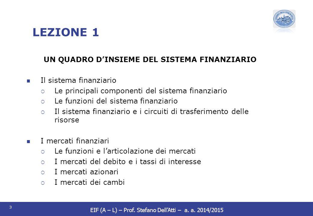 3 EIF (A – L) – Prof. Stefano Dell'Atti – a. a. 2014/2015 UN QUADRO D'INSIEME DEL SISTEMA FINANZIARIO Il sistema finanziario  Le principali component