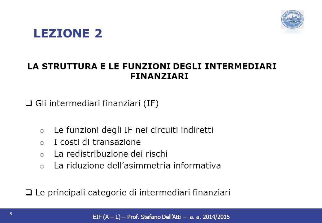 5 EIF (A – L) – Prof. Stefano Dell'Atti – a. a. 2014/2015 LEZIONE 2 LA STRUTTURA E LE FUNZIONI DEGLI INTERMEDIARI FINANZIARI  Gli intermediari finanz