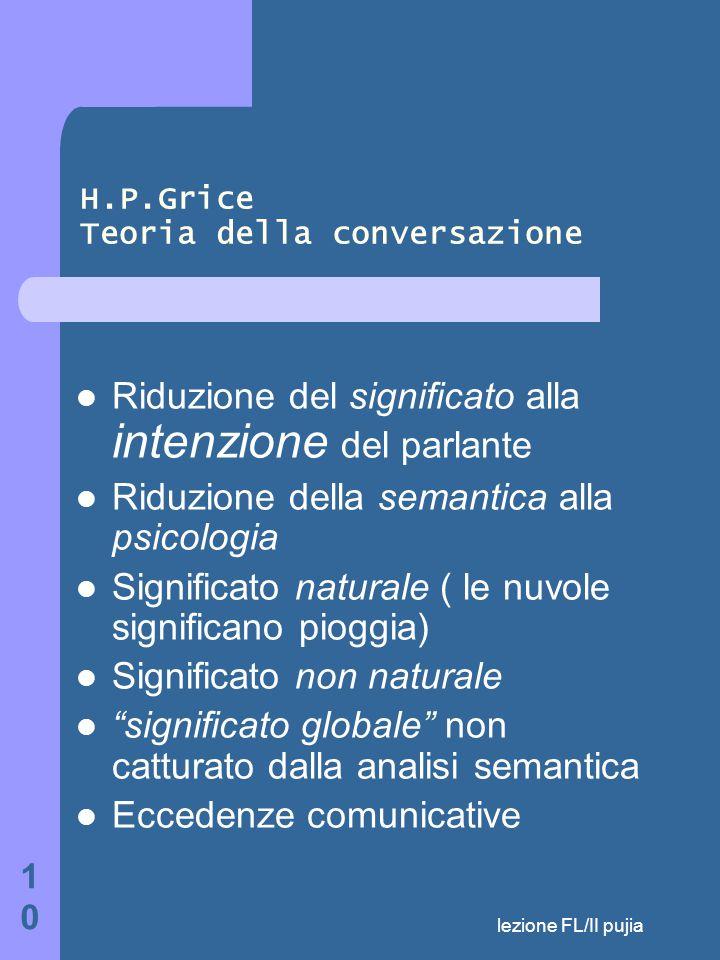 lezione FL/II pujia 10 H.P.Grice Teoria della conversazione Riduzione del significato alla intenzione del parlante Riduzione della semantica alla psicologia Significato naturale ( le nuvole significano pioggia) Significato non naturale significato globale non catturato dalla analisi semantica Eccedenze comunicative