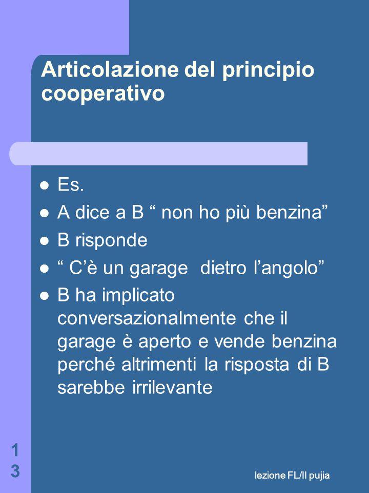 lezione FL/II pujia 13 Articolazione del principio cooperativo Es.
