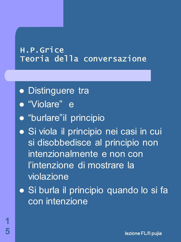 lezione FL/II pujia 15 H.P.Grice Teoria della conversazione Distinguere tra Violare e burlare il principio Si viola il principio nei casi in cui si disobbedisce al principio non intenzionalmente e non con l'intenzione di mostrare la violazione Si burla il principio quando lo si fa con intenzione