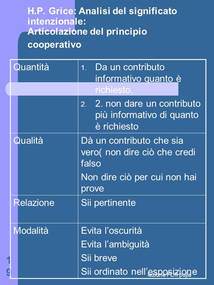 lezione FL/II pujia 19 H.P.