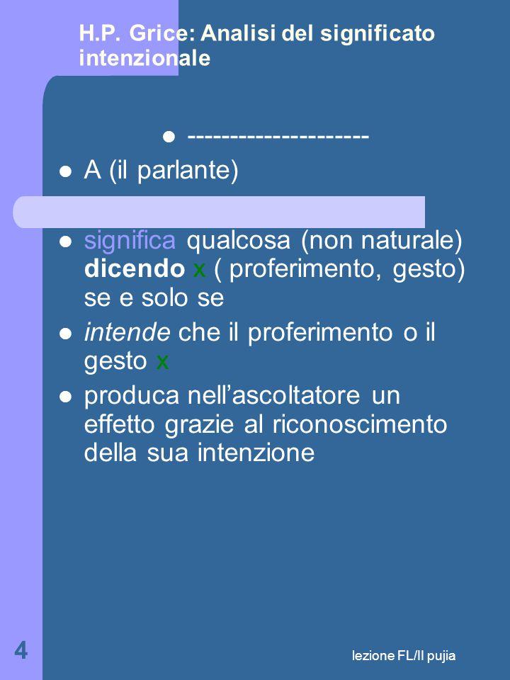 lezione FL/II pujia 25 Si possono violare in vario modo le regole Gli atti linguistici ( locutivi e illocutivi) sono parte di una teoria del significato Parlare è una attività che trascende il dire dunque è governata da regole che non sono riconducibili alla linguistica Lo studio delle ocuzioni è parte della semantica perché comporta la ricostruzione della catena fonetica e grammaticale