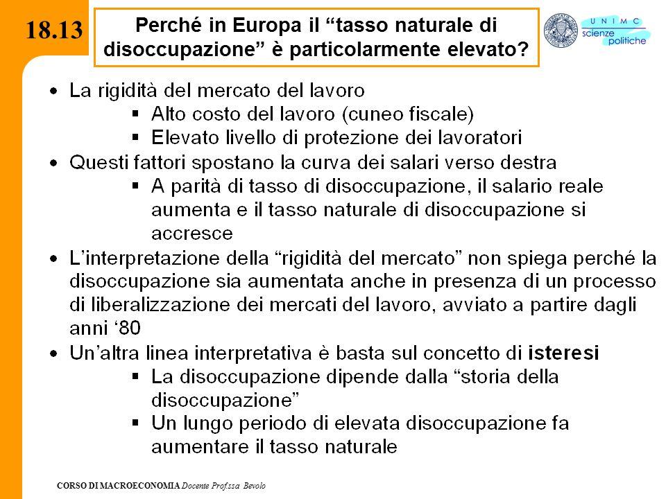CORSO DI MACROECONOMIA Docente Prof.ssa Bevolo 18.13 Perché in Europa il tasso naturale di disoccupazione è particolarmente elevato