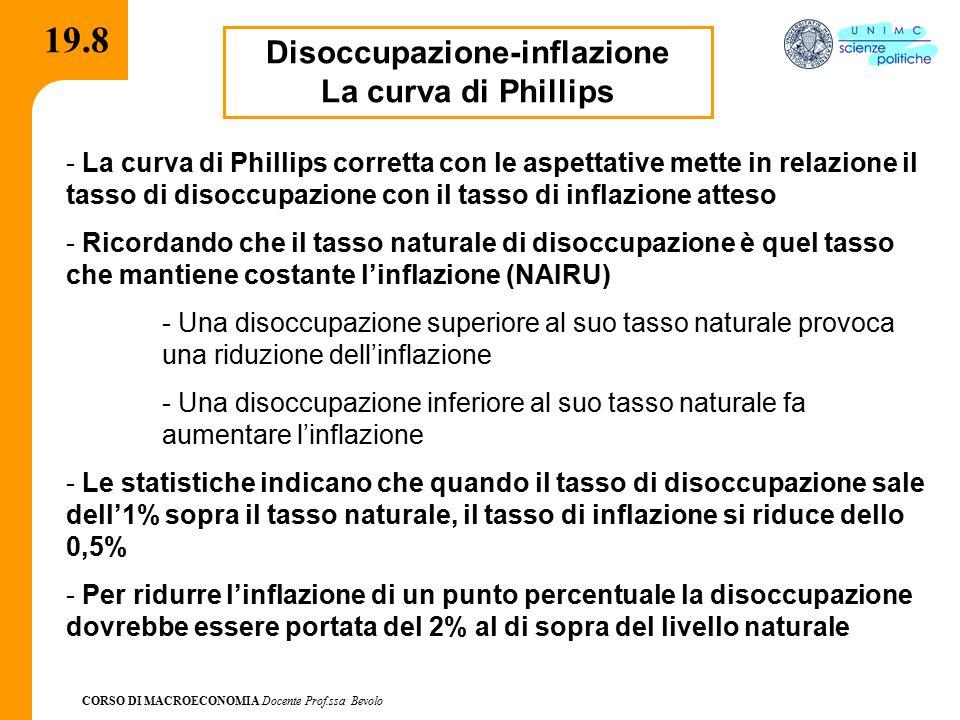 CORSO DI MACROECONOMIA Docente Prof.ssa Bevolo 19.8 Disoccupazione-inflazione La curva di Phillips - La curva di Phillips corretta con le aspettative