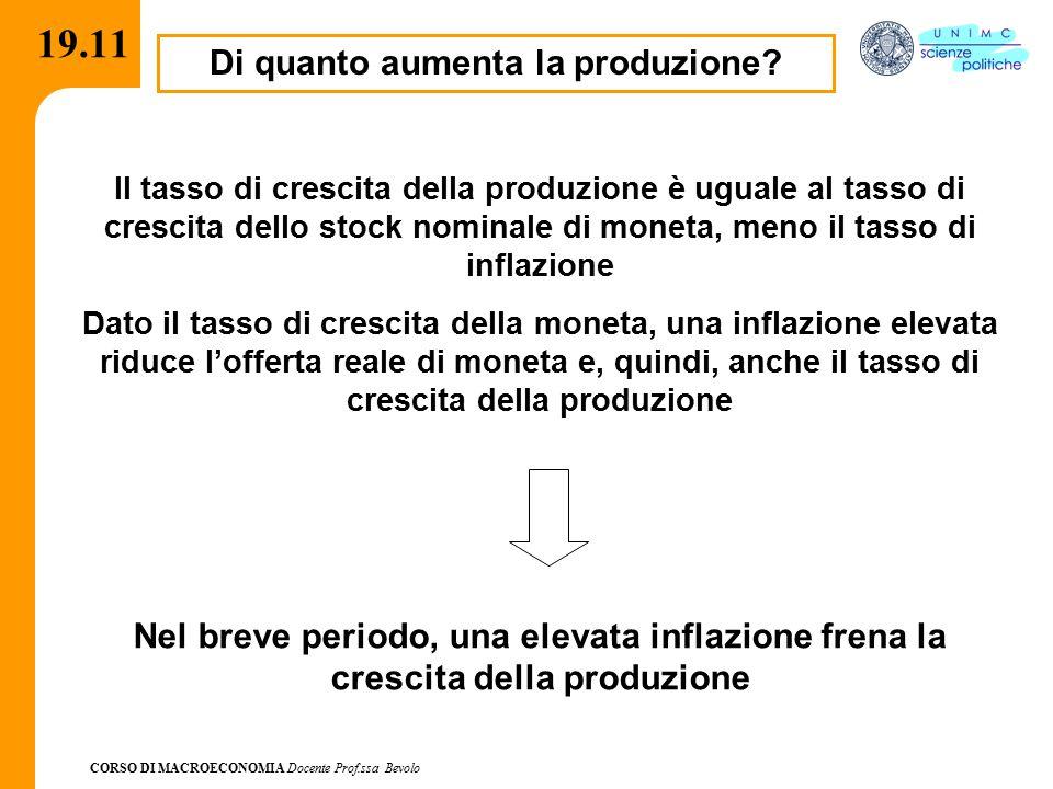 CORSO DI MACROECONOMIA Docente Prof.ssa Bevolo 19.11 Di quanto aumenta la produzione? Il tasso di crescita della produzione è uguale al tasso di cresc