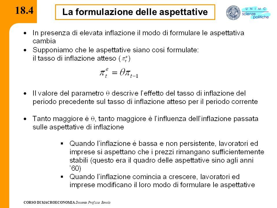 CORSO DI MACROECONOMIA Docente Prof.ssa Bevolo 18.4 La formulazione delle aspettative