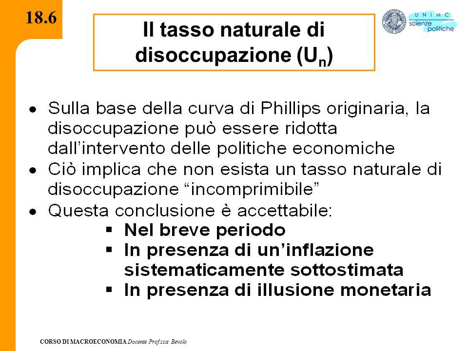 CORSO DI MACROECONOMIA Docente Prof.ssa Bevolo 18.6 Il tasso naturale di disoccupazione (U n )