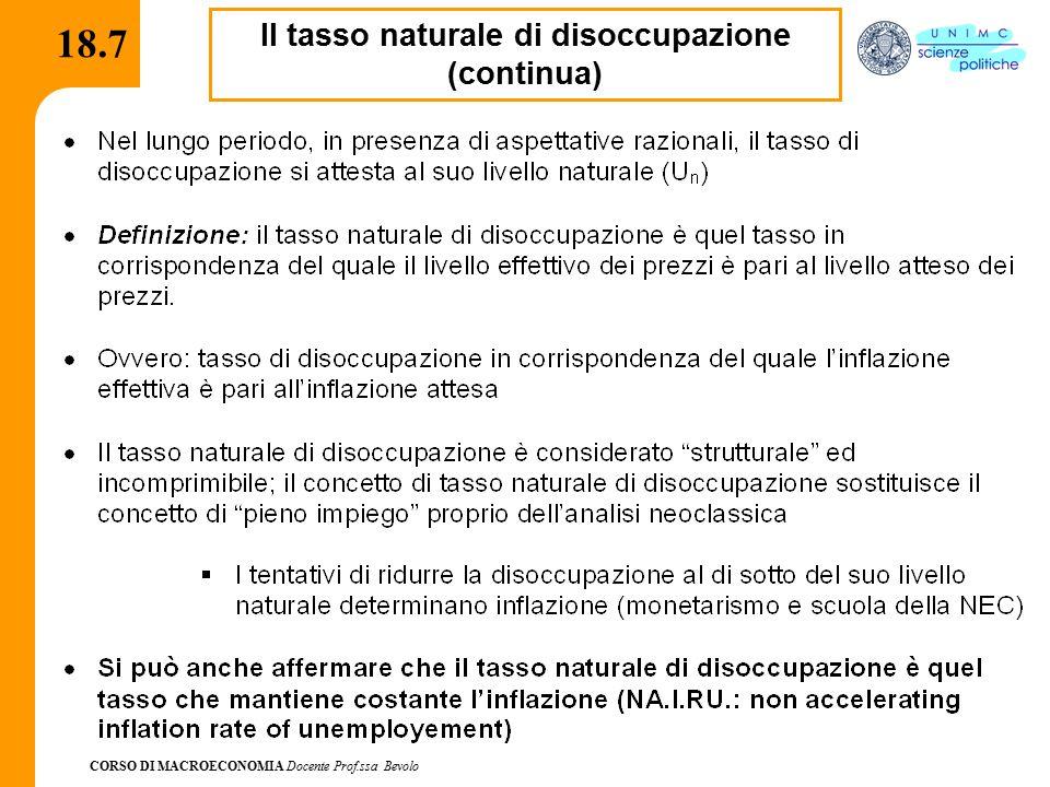 CORSO DI MACROECONOMIA Docente Prof.ssa Bevolo 18.8 Riepilogo