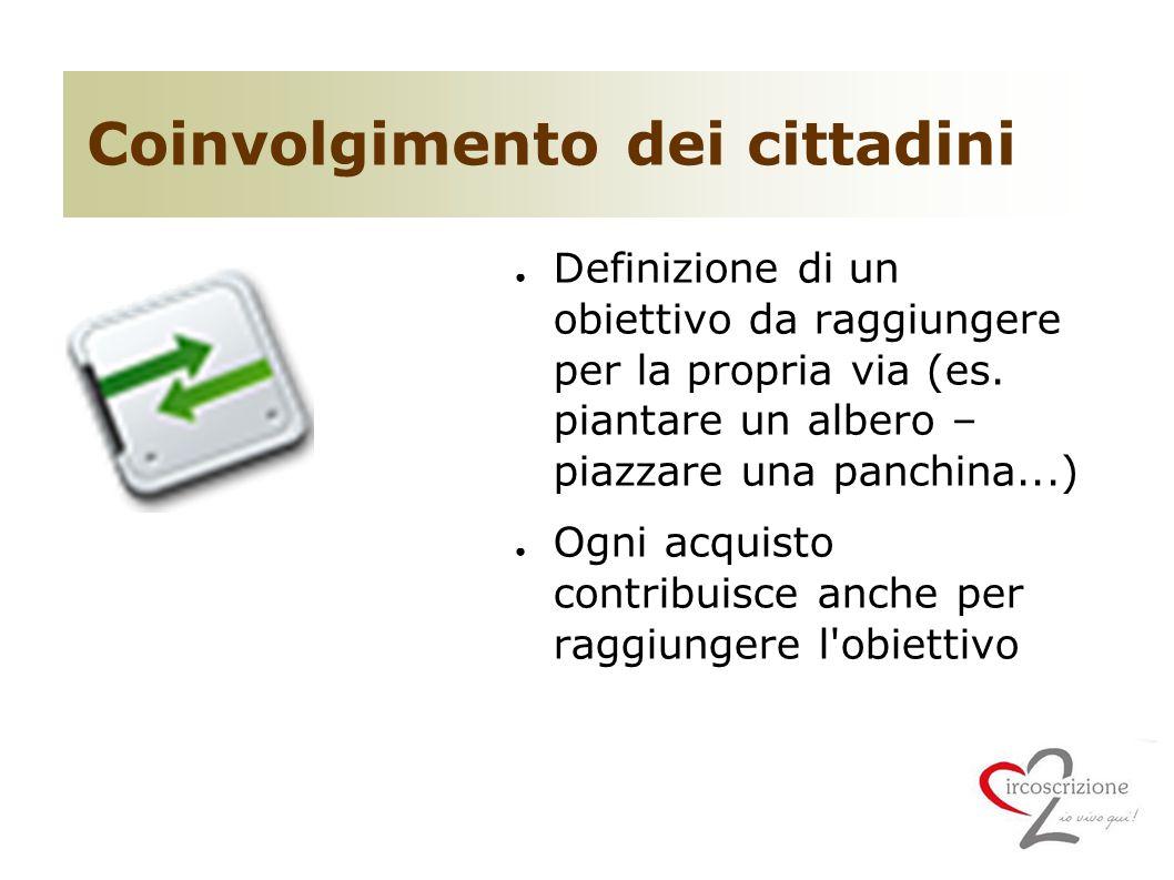 Coinvolgimento dei cittadini ● Definizione di un obiettivo da raggiungere per la propria via (es.