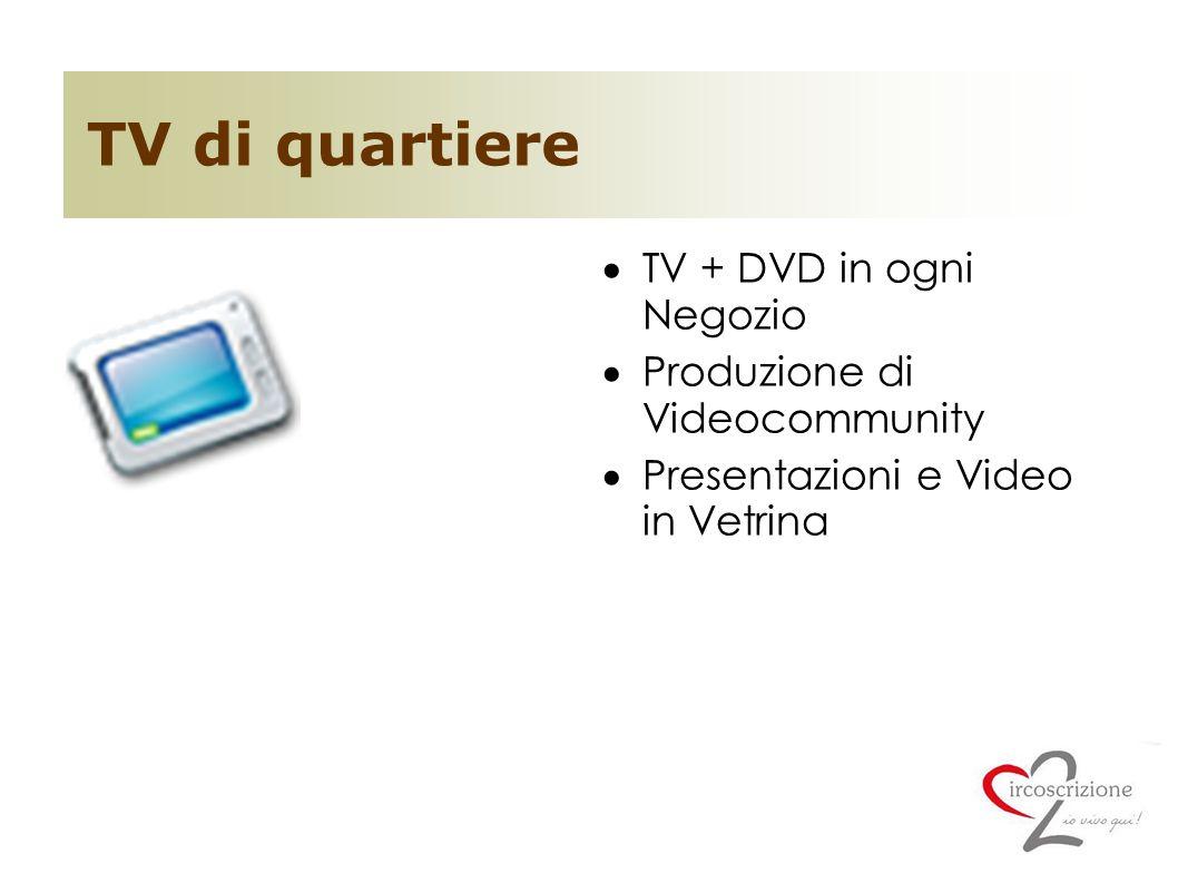 TV di quartiere  TV + DVD in ogni Negozio  Produzione di Videocommunity  Presentazioni e Video in Vetrina