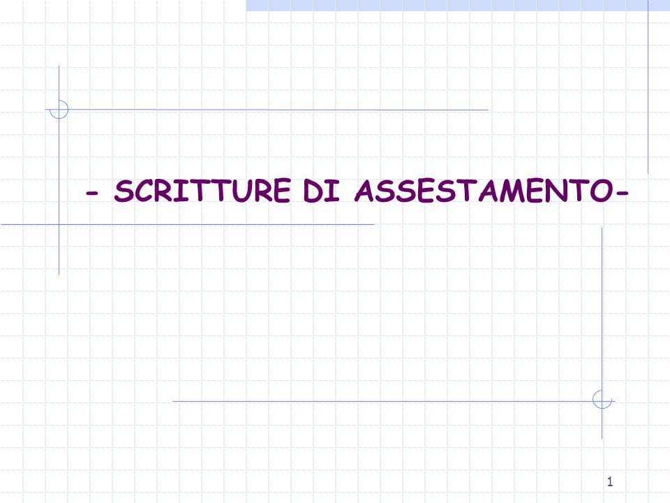 1 - SCRITTURE DI ASSESTAMENTO-
