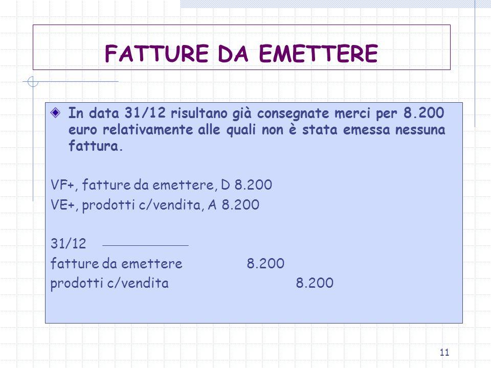 11 FATTURE DA EMETTERE In data 31/12 risultano già consegnate merci per 8.200 euro relativamente alle quali non è stata emessa nessuna fattura. VF+, f