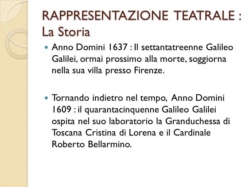 RAPPRESENTAZIONE TEATRALE : La Storia Anno Domini 1637 : Il settantatreenne Galileo Galilei, ormai prossimo alla morte, soggiorna nella sua villa pres