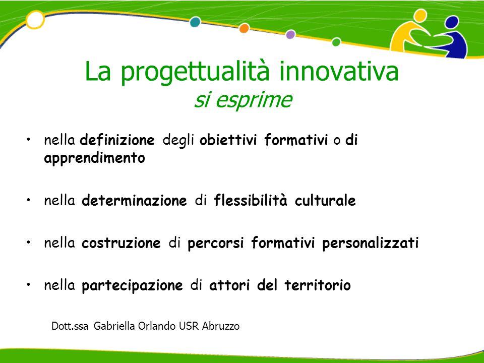 La progettualità innovativa si esprime nella definizione degli obiettivi formativi o di apprendimento nella determinazione di flessibilità culturale nella costruzione di percorsi formativi personalizzati nella partecipazione di attori del territorio Dott.ssa Gabriella Orlando USR Abruzzo